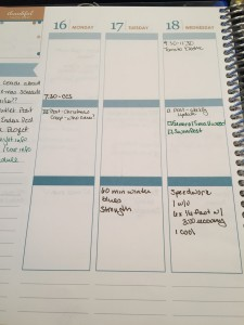This is what my planner looked like Monday morning. Nice and organized. Not anymore.